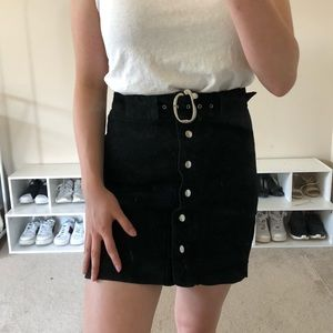 Button up black suede skirt